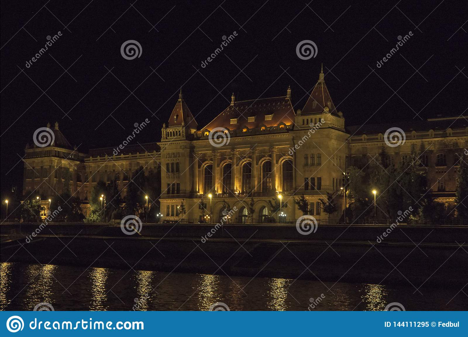 The Technical University Muszaki Egyetem in night Budapest Hungary