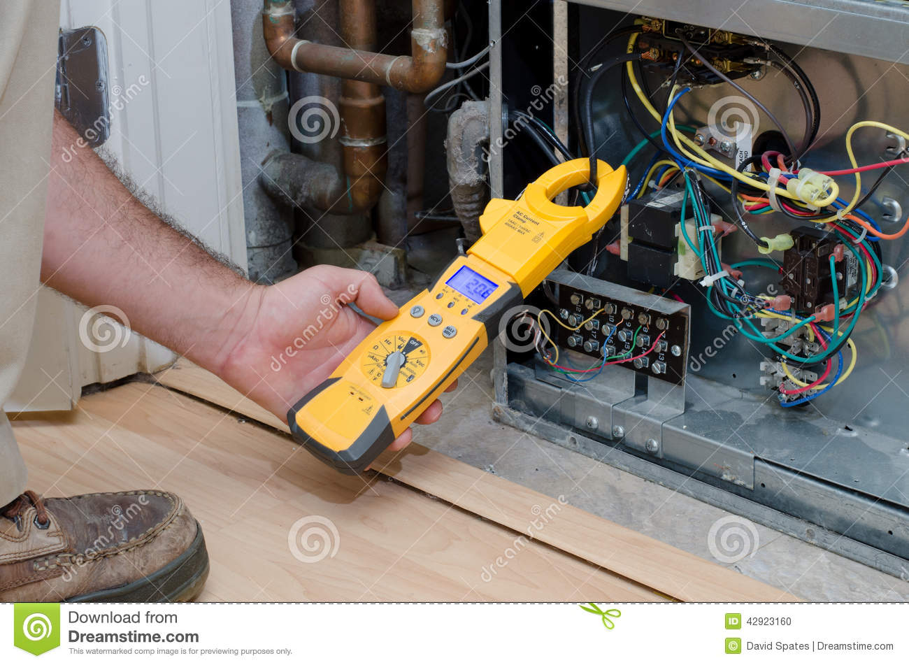 Technician Checking Compressor Amps Stock Photo Image Of