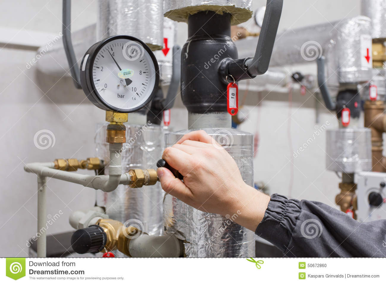 Technician Checking Water Pressure Stock Photo - Image of ...