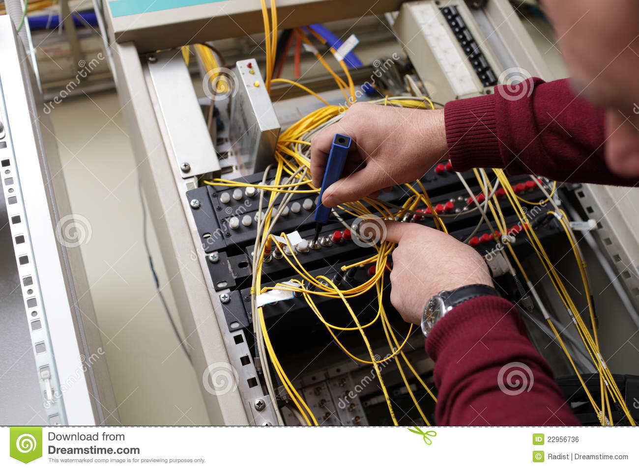 Technician Cleaning Fiber Optic Royalty Free Stock Image - Image ...