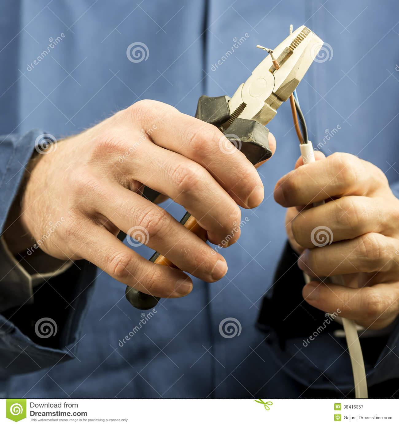 Technician Or Electrician Working With Wiring Royalty Free Stock ...