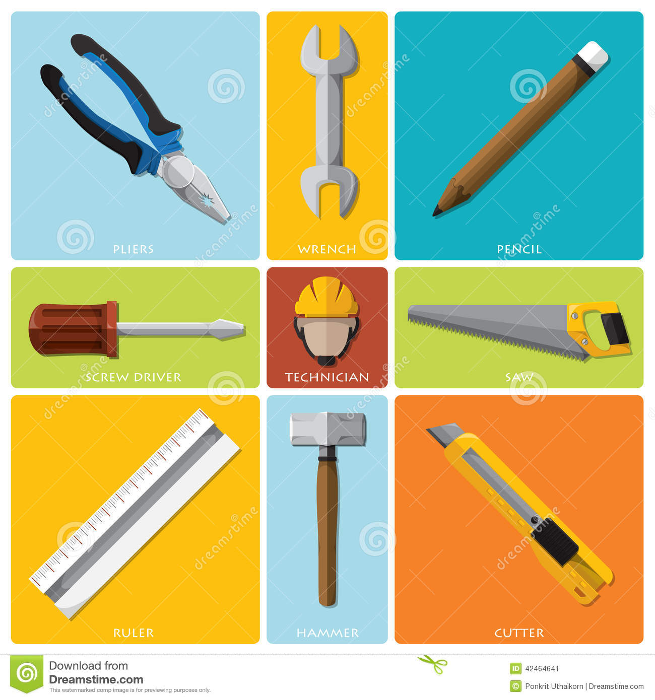 technician and equipment tools flat icon set stock vector image