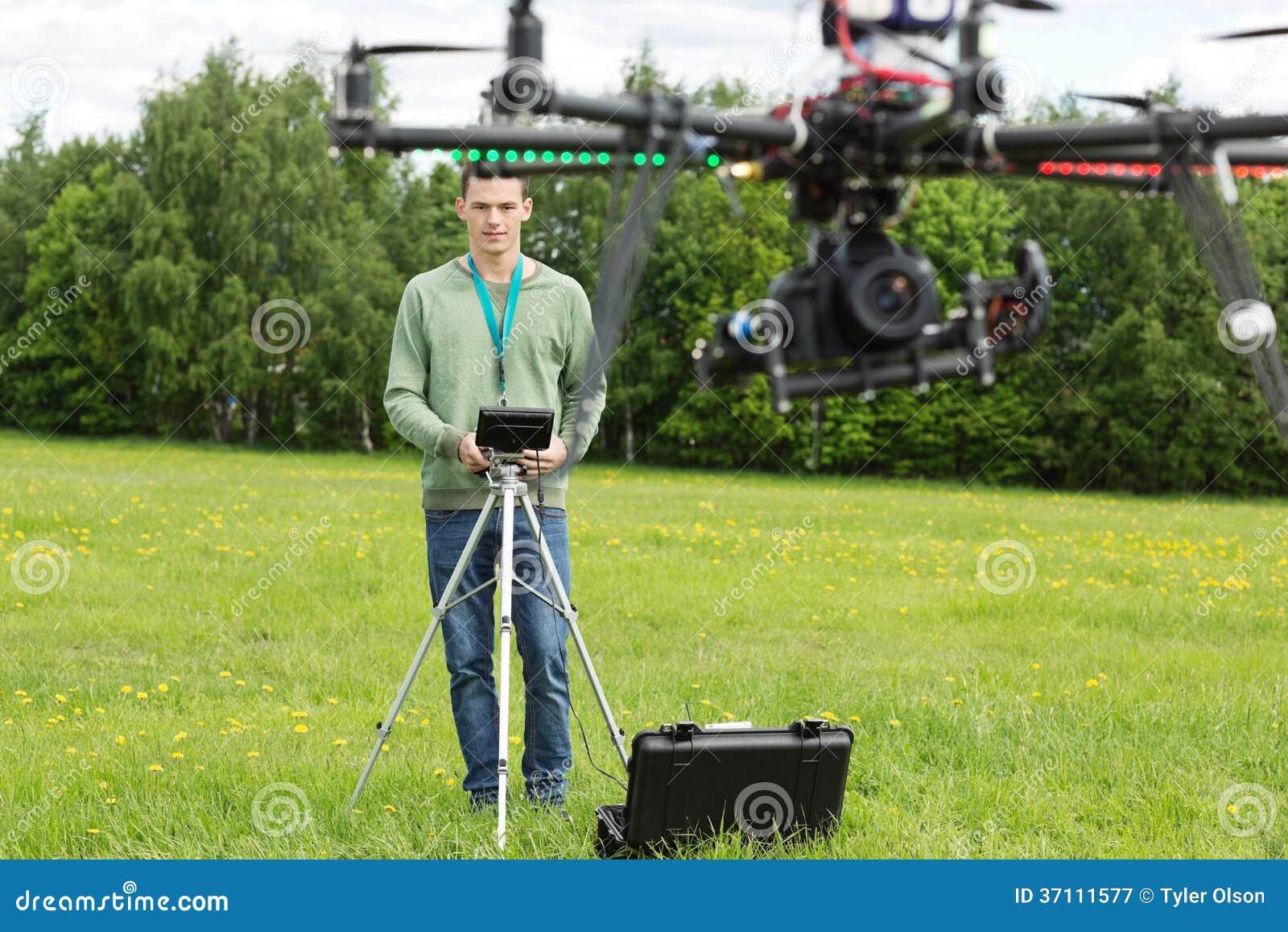 Technician Flying UAV Helicopter