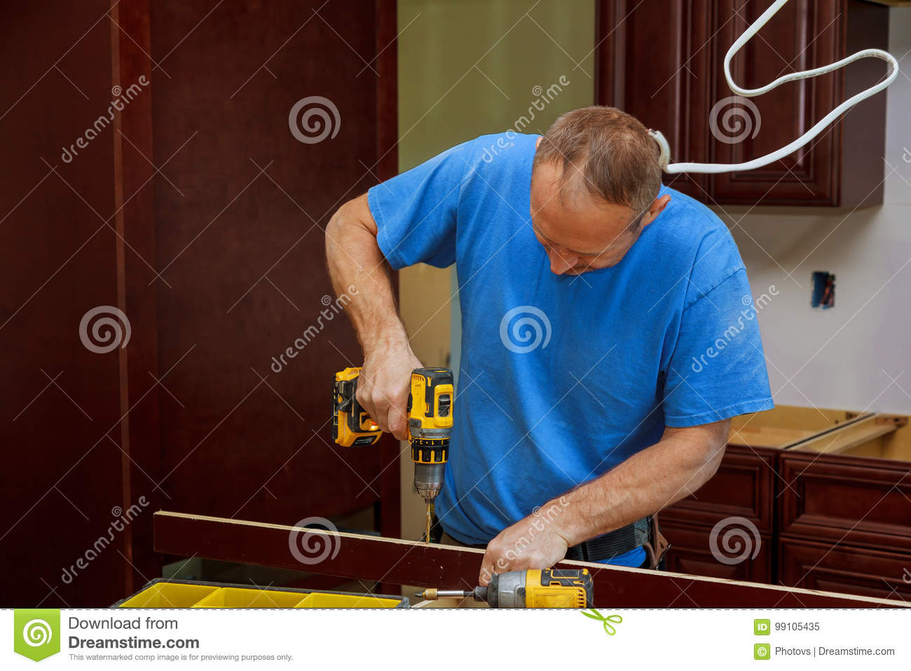 Technician Man Installing Kitchen Cabinets Stock Image Image Of