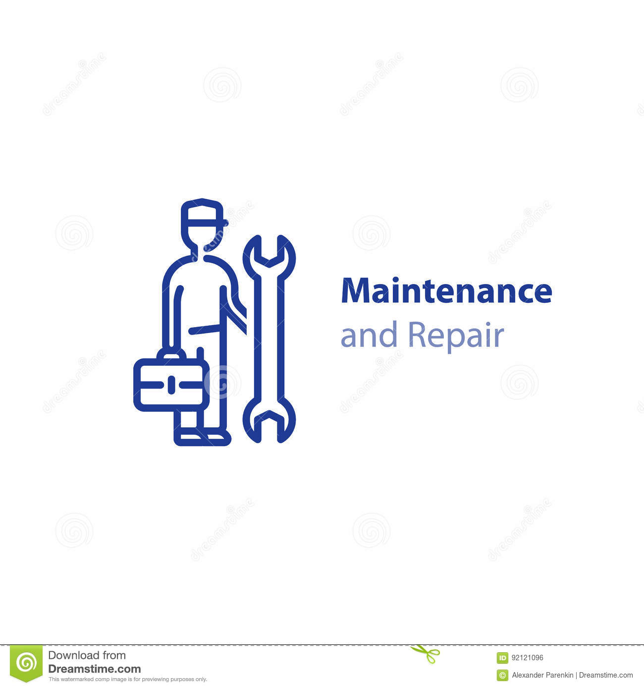 Technician man with spanner and case, repairmen concept, maintenance and support icon