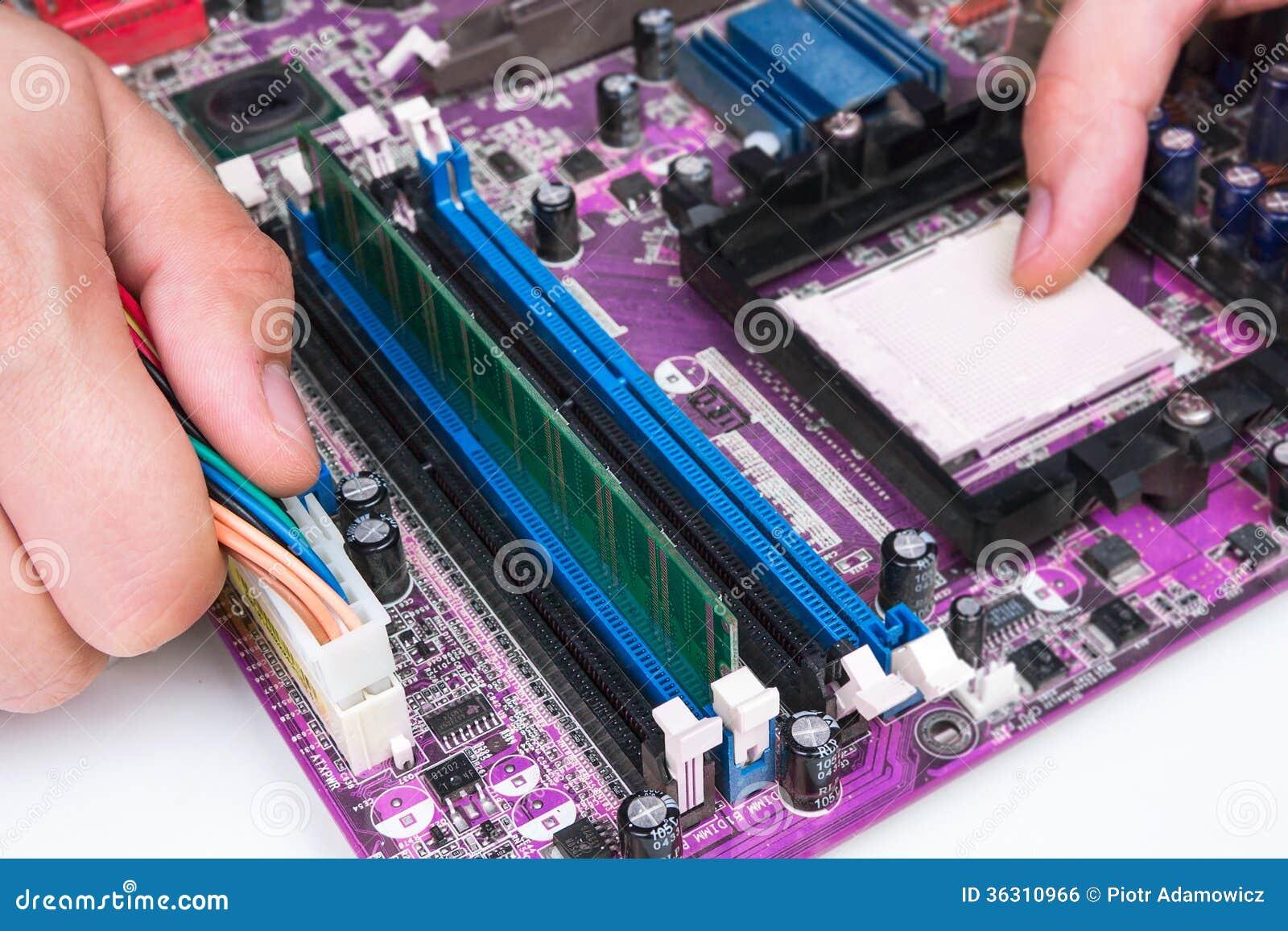 Technician Repairing Computer Hardware Stock Photo Image Of Circuit Board Royalty Free