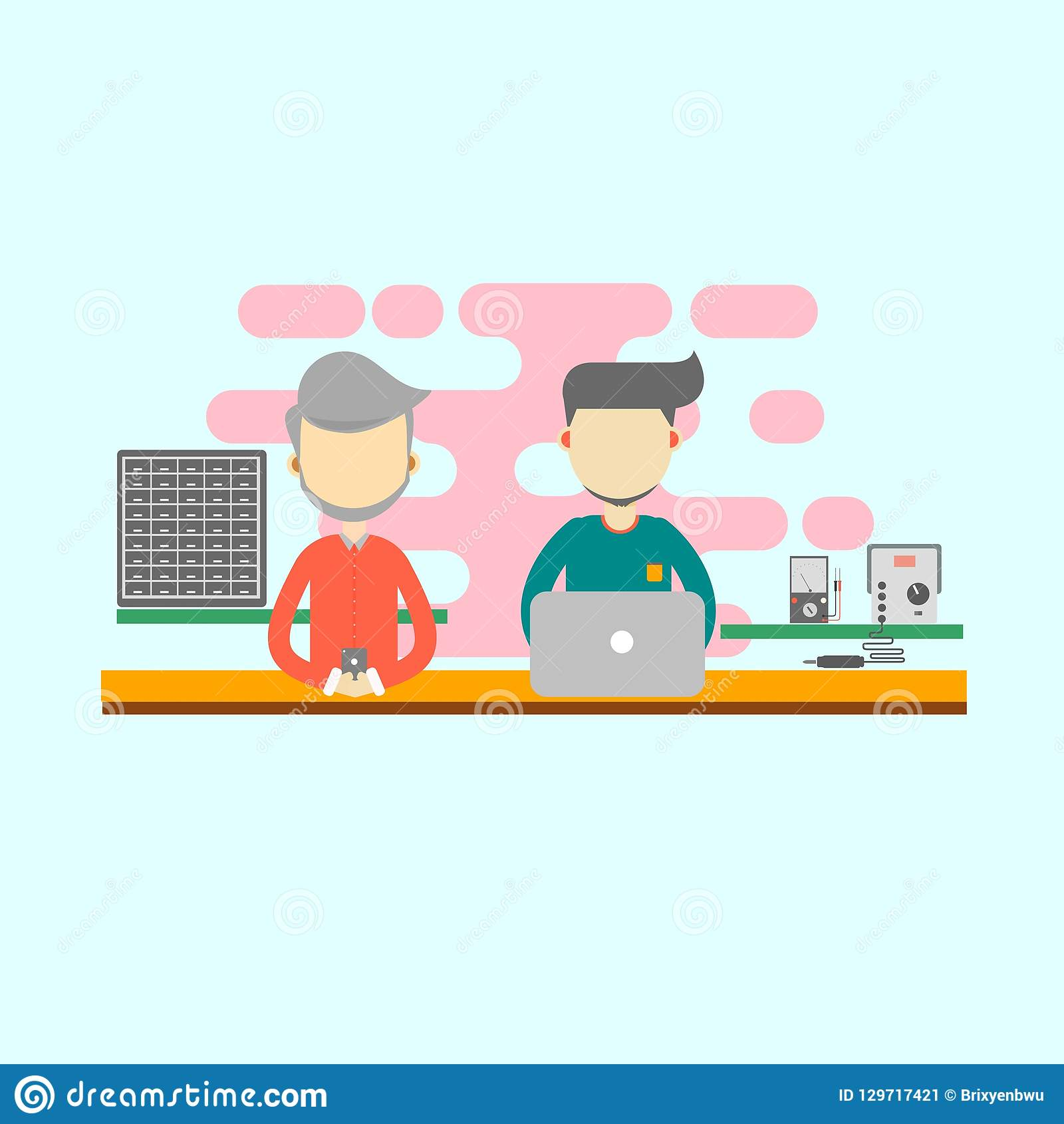 Two men working in the office as computer technician. flat design vector.computer design