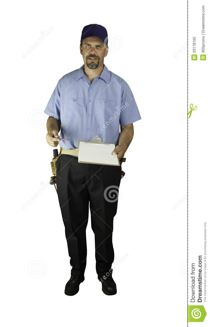 Technician-Standing-Clipboard CP Royalty Free Stock Photo - Image ...