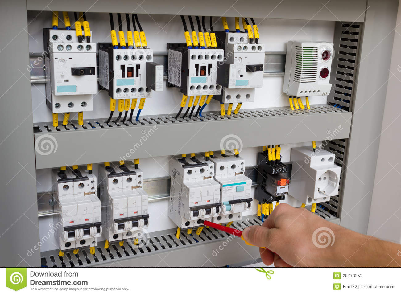Technician Working At Electrical Cabinet Stock Photography - Image ...