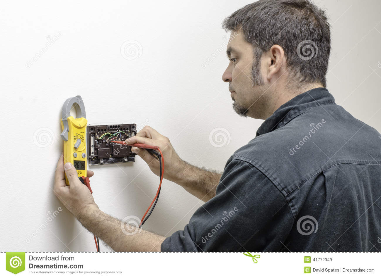 Technician Working On A Thermostat Stock Image Of Finger Wiring Mercury
