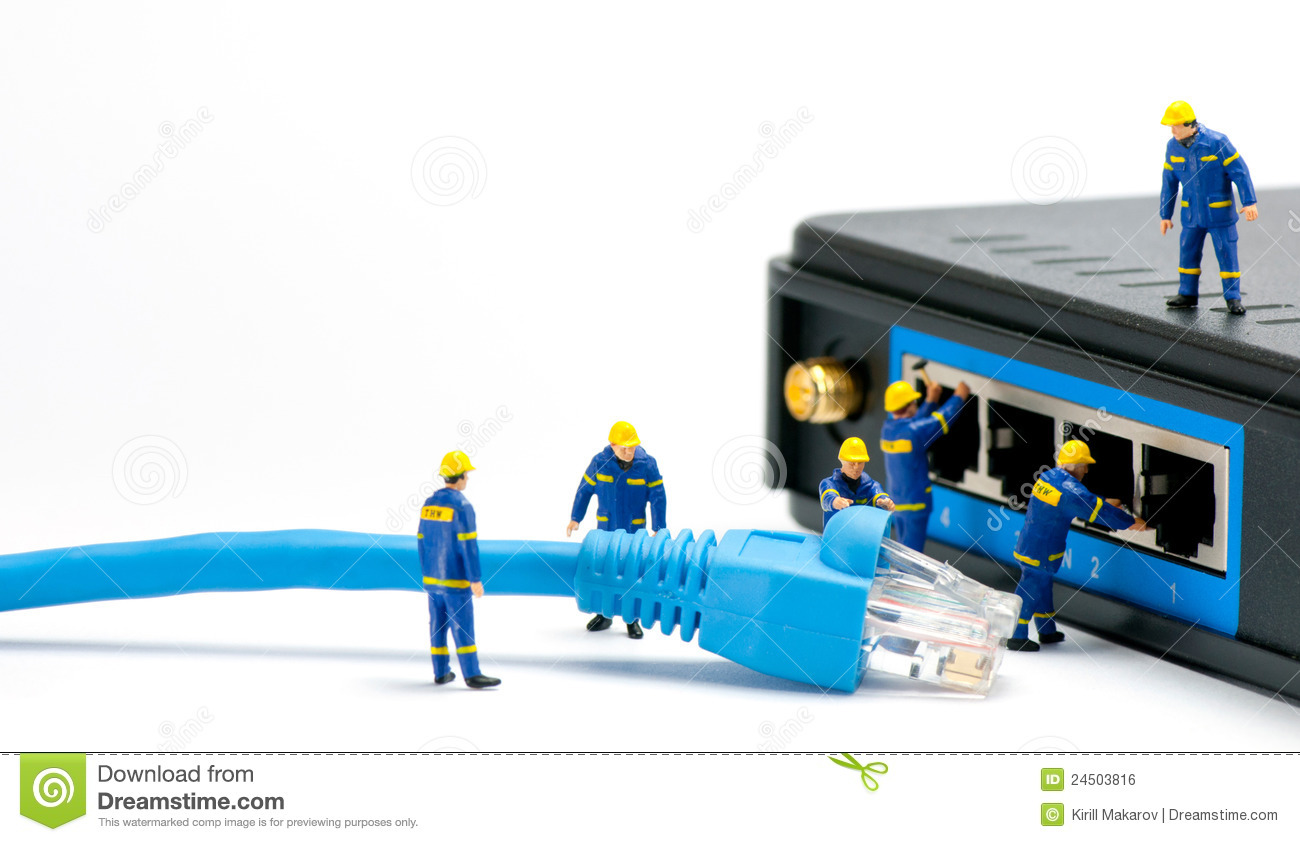technicians connecting network cable network connection concept mr no