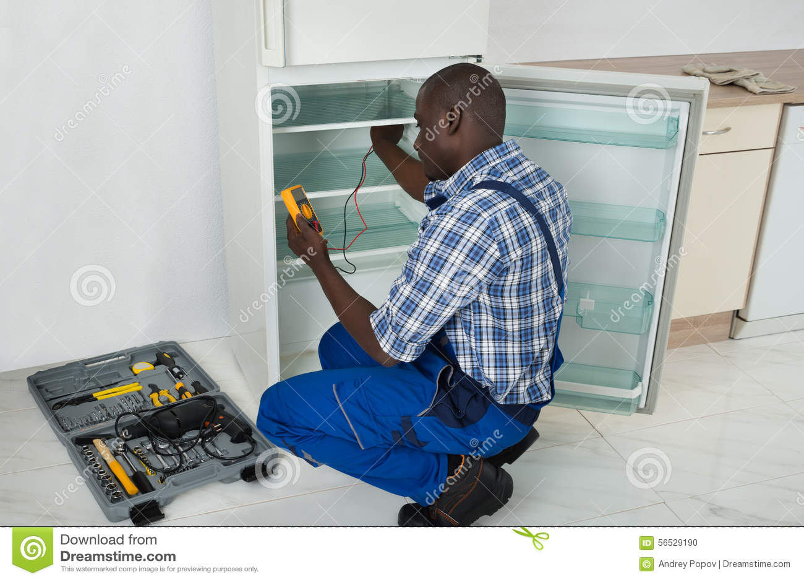 Technicus Repairing Refrigerator Appliance