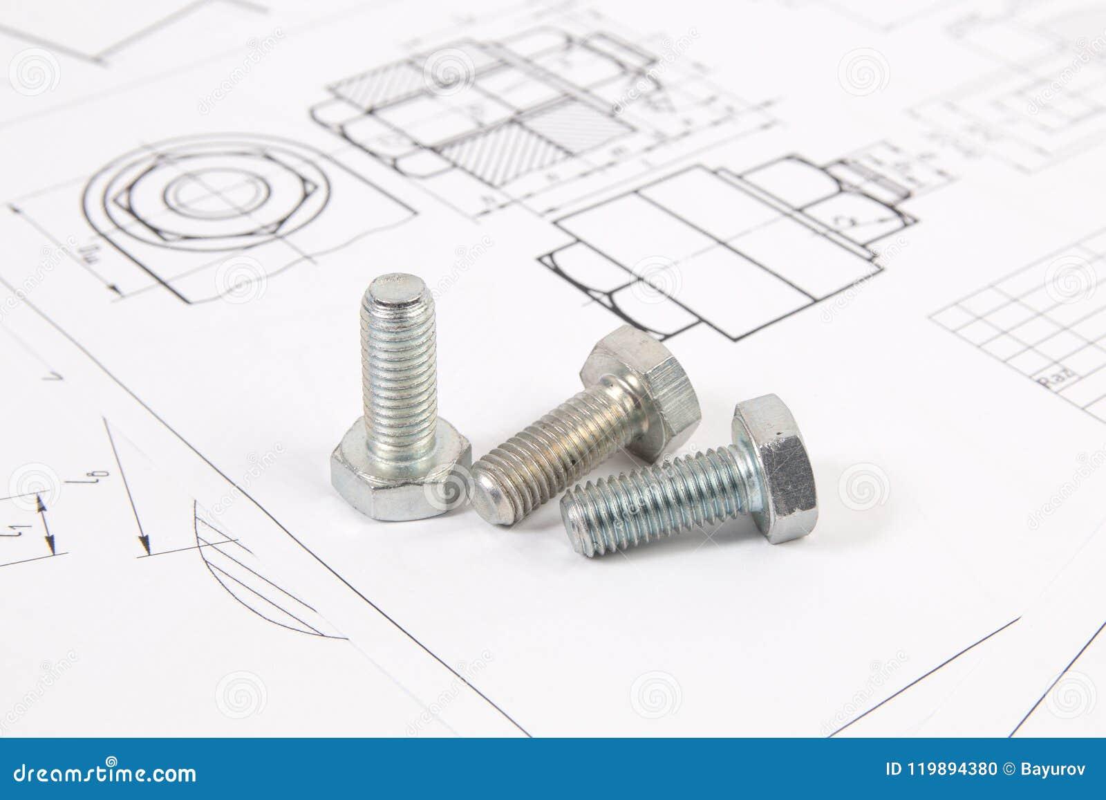 Techniczni rysunki rygle Inżynieria, technologia i metalworking,