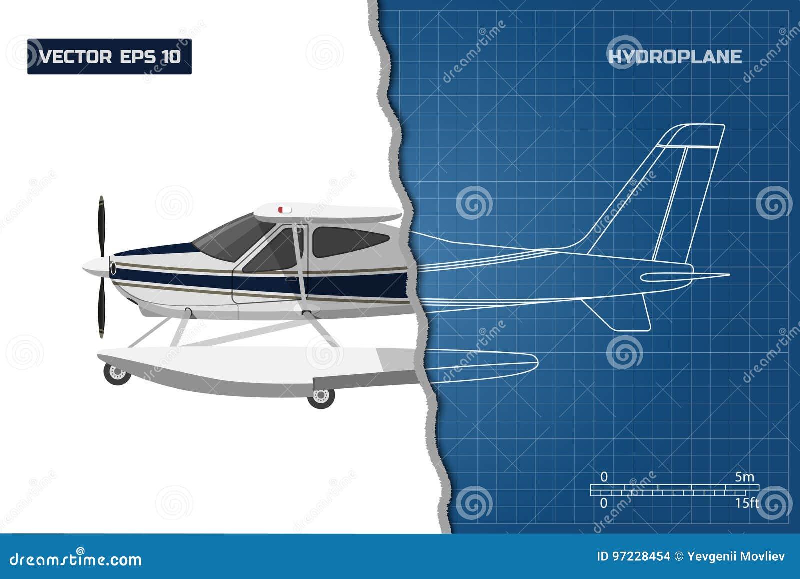 Techniekblauwdruk van vliegtuig Zijaanzicht van hydroplane Industriële tekening van vliegtuigen