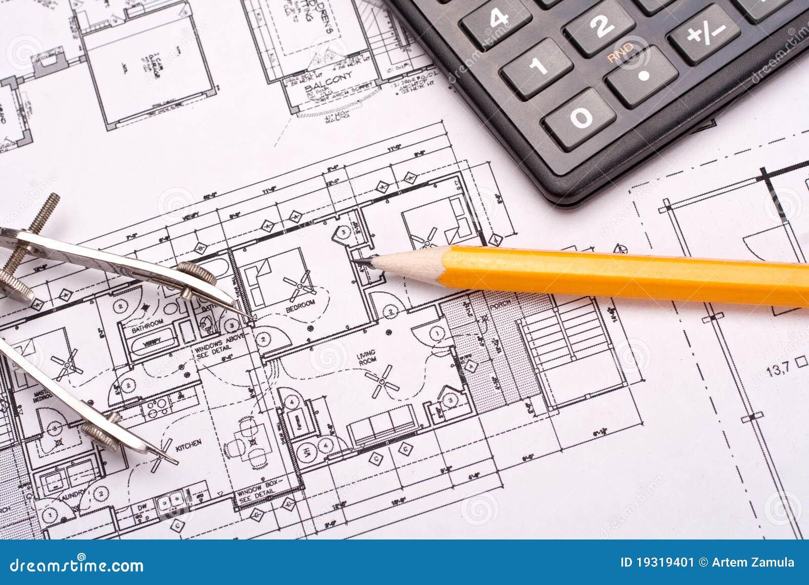 Technik Und Architekturzeichnungen Stockbild