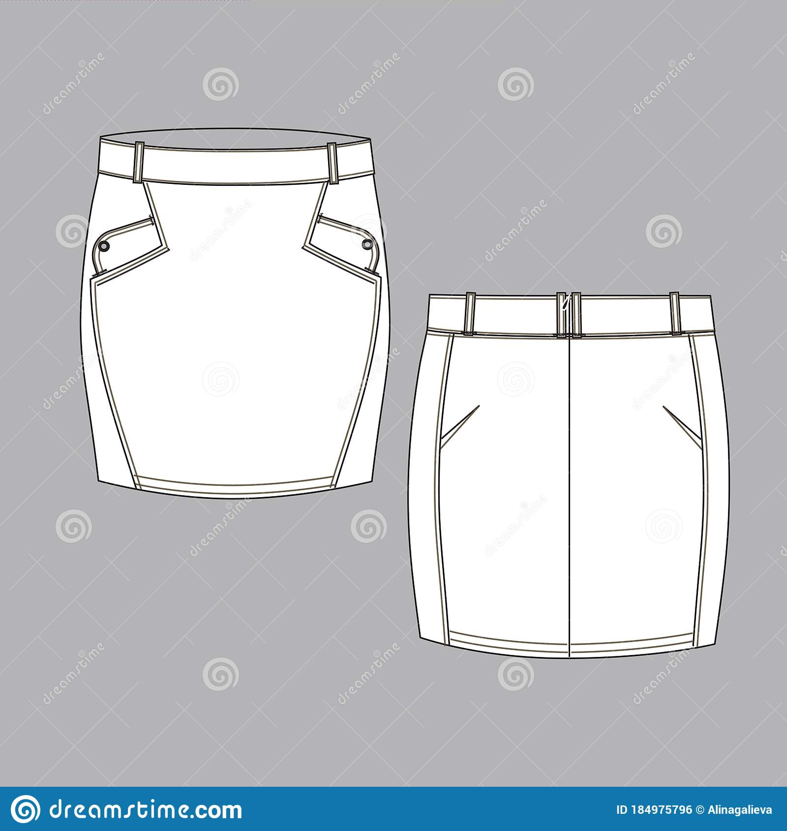 Techniocal Sketch Of Female Skirt Back And Front Part Stock Vector Illustration Of Package Presentation 184975796