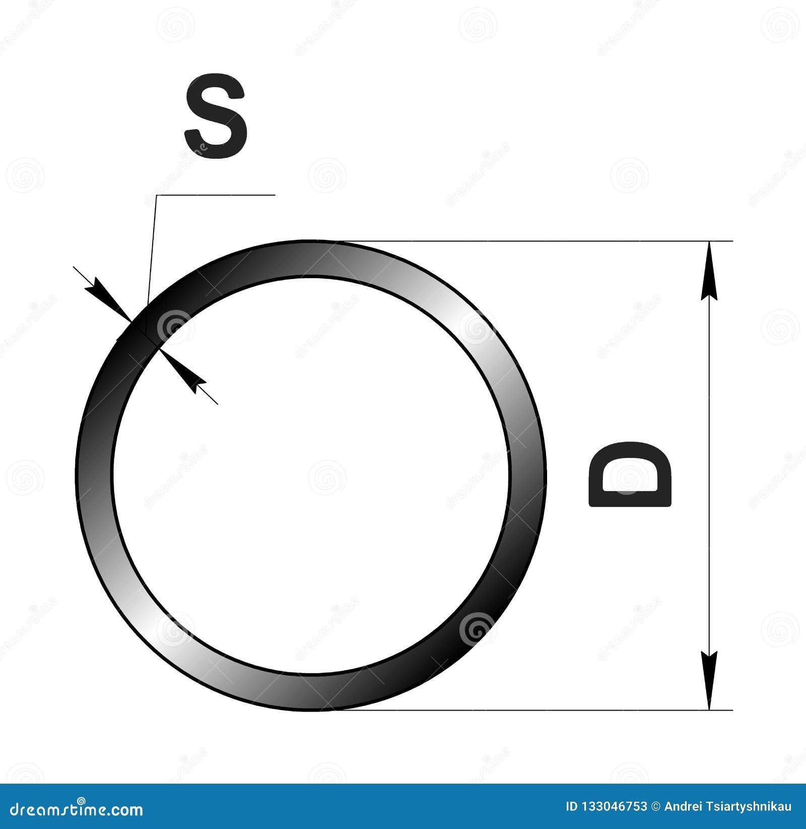 Technisch tekening gerold metaal Staal om buisprofiel Beeld voor website Illustratie