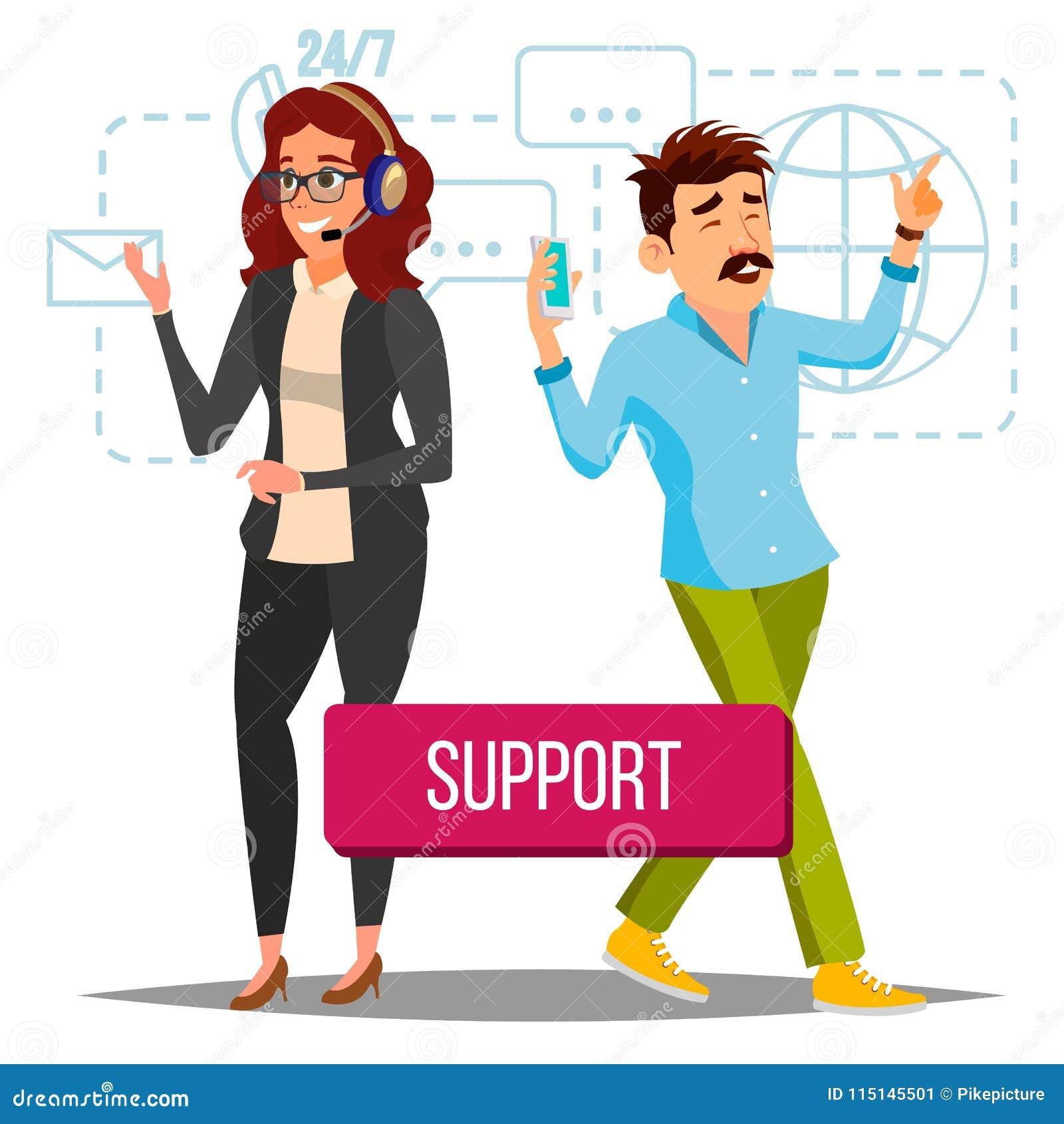 Technische Stützvektor Bediener bei der Arbeit On-line-technische Unterstützung Ebene lokalisierte Illustration
