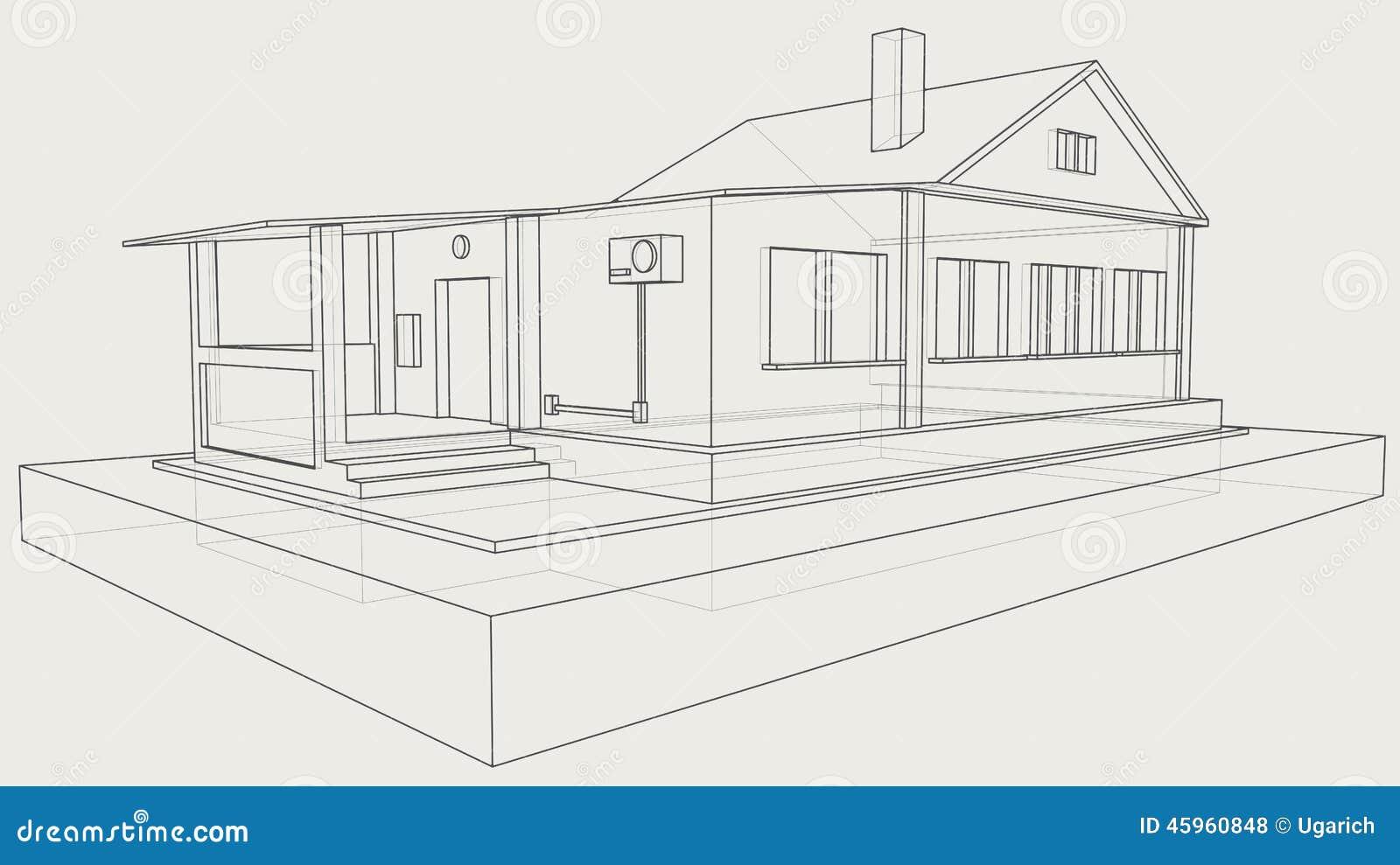 technische zeichnung des grauen hauses vektor abbildung bild 45960848. Black Bedroom Furniture Sets. Home Design Ideas