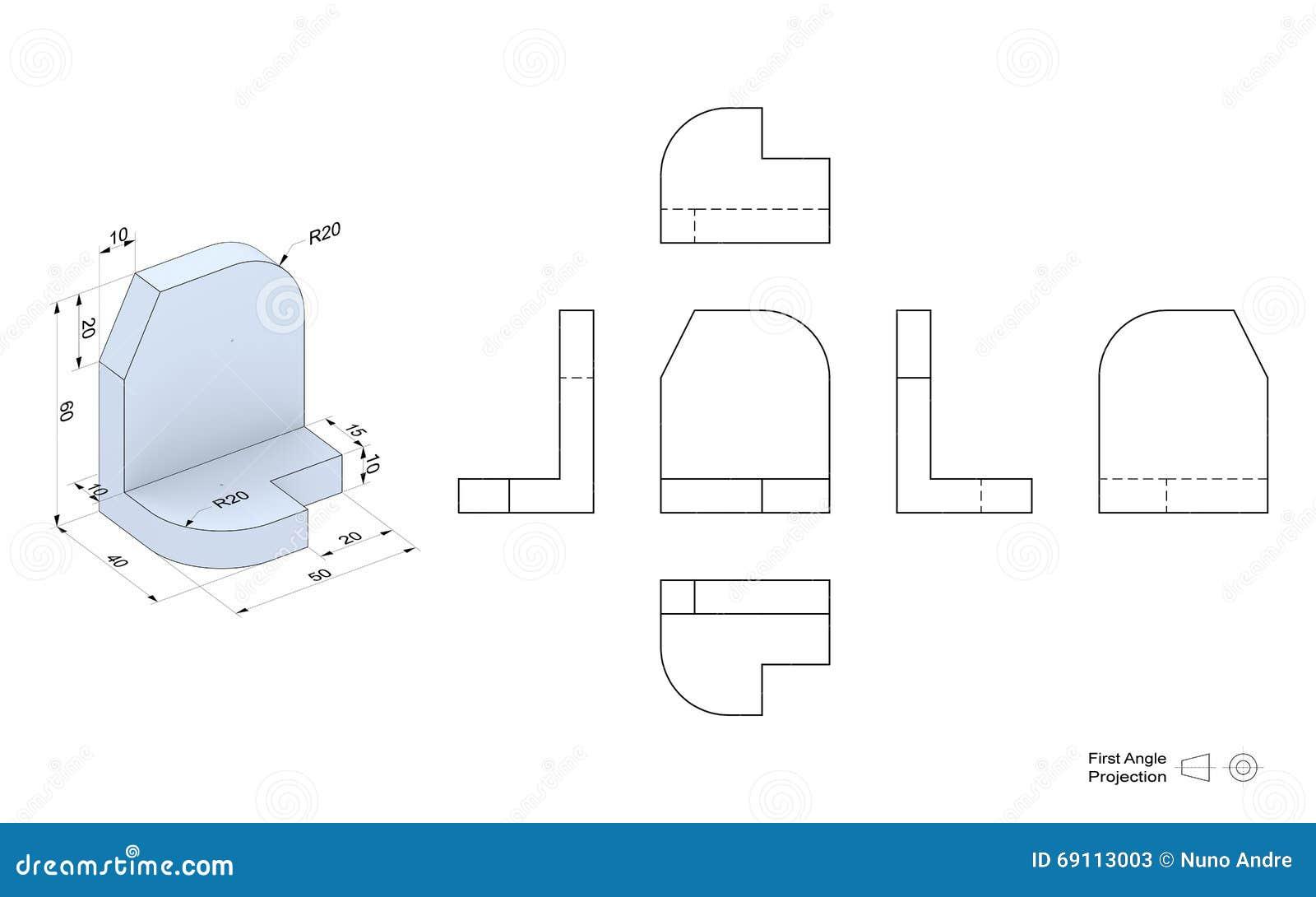 technische zeichnung mit perspektive und orthogonalen ansichten stock abbildung illustration. Black Bedroom Furniture Sets. Home Design Ideas