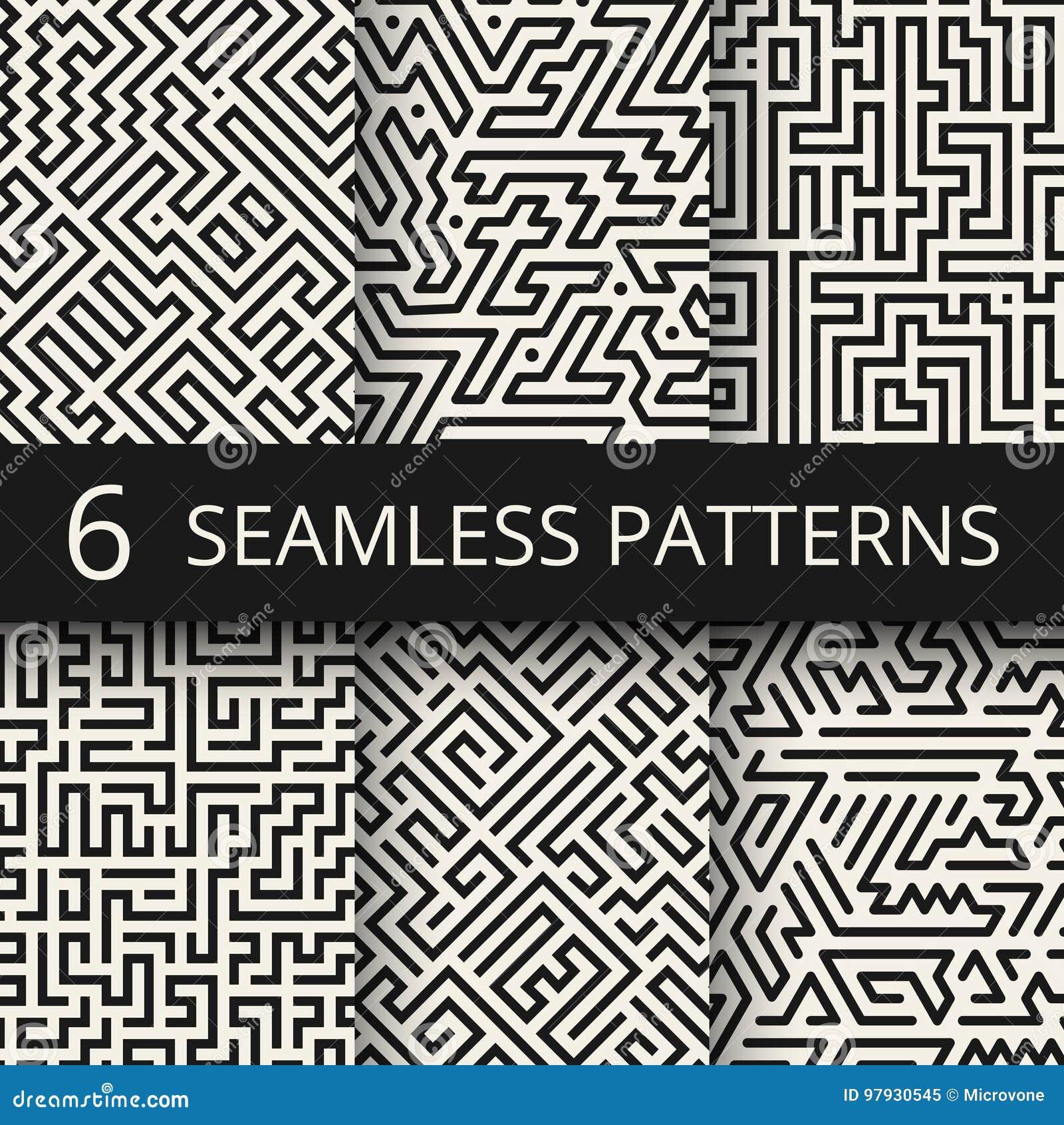 Techno grafiki linii bezszwowe tekstury Nowożytni lampas mody projekta tła