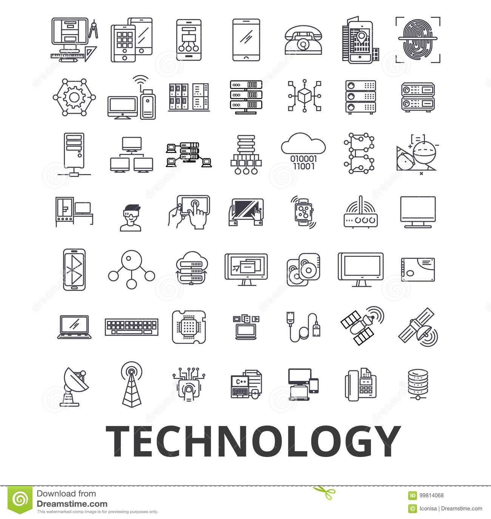 Technologia, komputer, ja, innowacja, nauka, informacja, obłoczne sieci linii ikony Editable uderzenia Płaski projekt