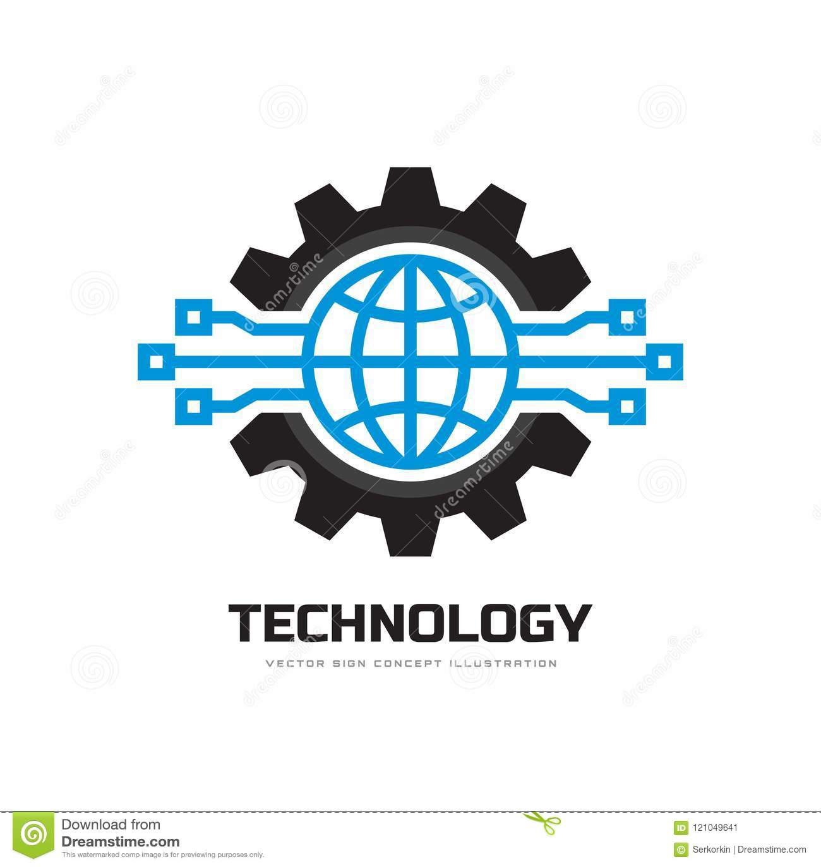 Technologia - pojęcie loga szablonu wektoru biznesowa ilustracja Kula ziemska światowa i przekładnia symbole Cogwheel mechanika z