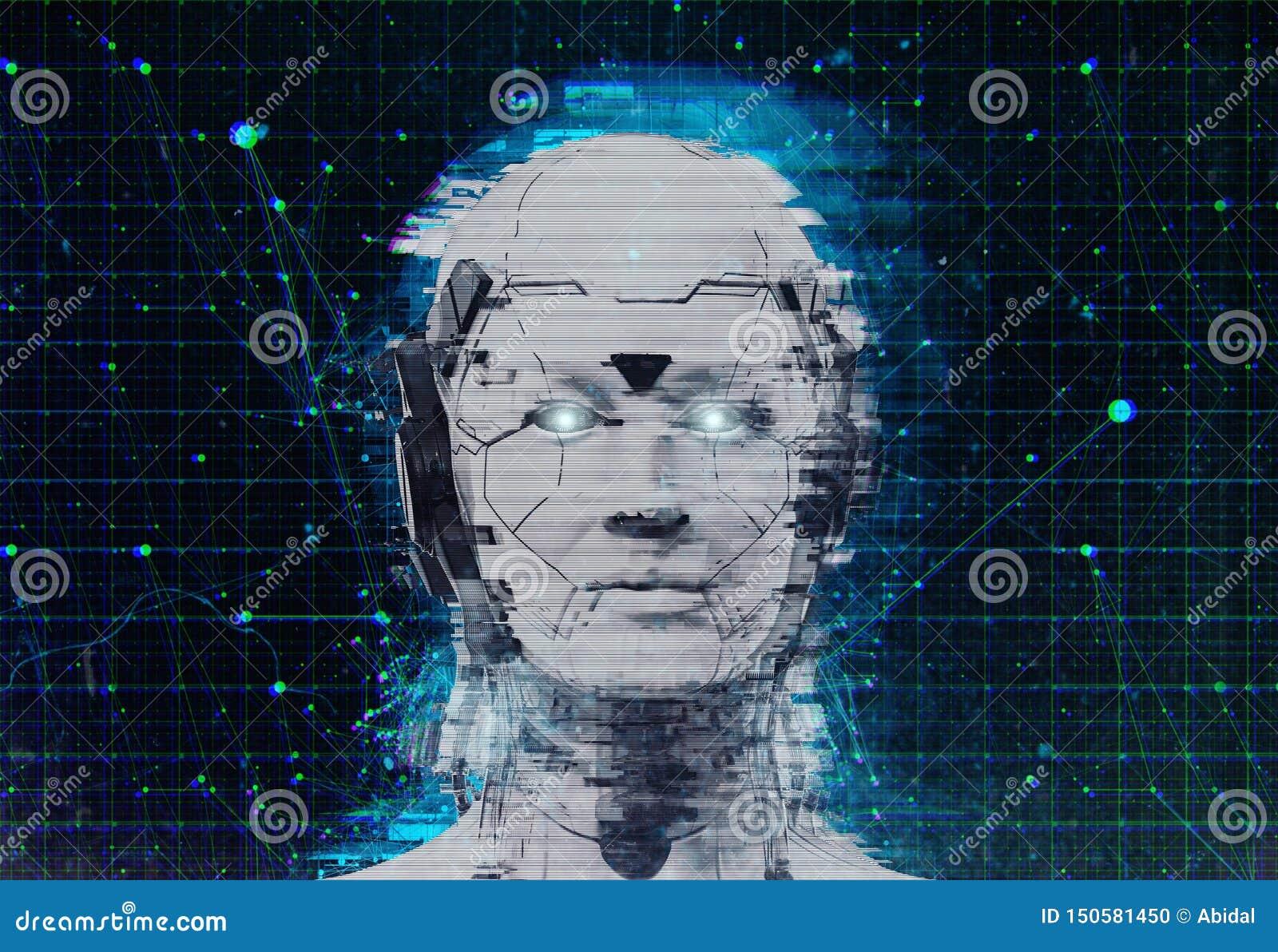 Technologia robota fantastyka naukowa kobiety cyborga androidu tło - Humanoid Sztuczna inteligencja wallpaper-3D odpłaca się
