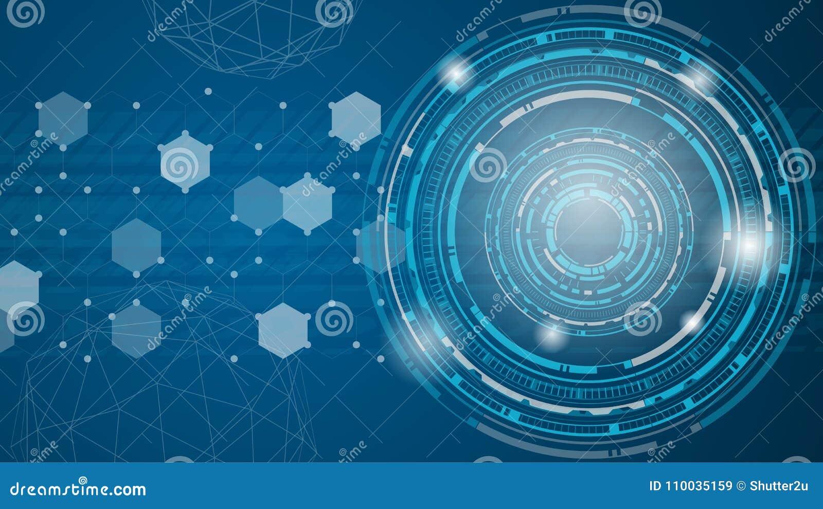 Technologie abstracte vector als achtergrond Blauwe futuristisch stemt hen