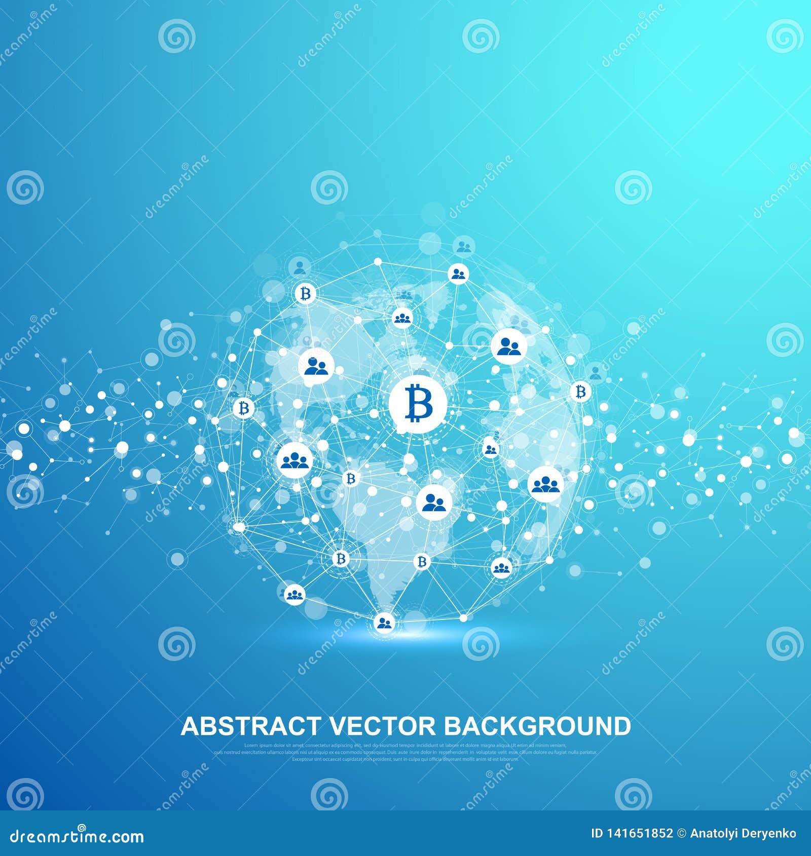 Technologie abstraite futuriste de blockchain de fond de vecteur Fond profond de Web Pair à scruter concept d affaires de réseau
