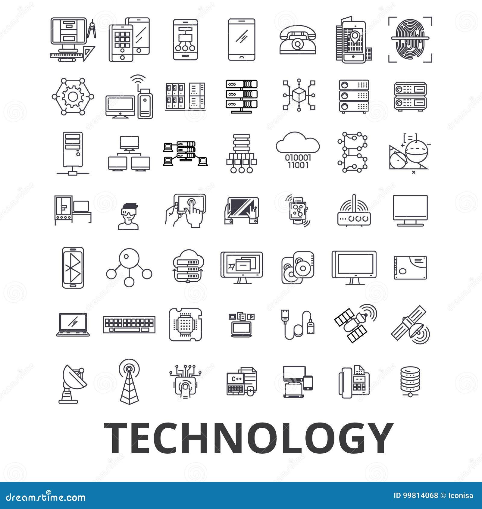 Technologie, Computer, es, Innovation, Wissenschaft, Informationen, Wolkennetzlinie Ikonen Editable Anschläge Flaches Design