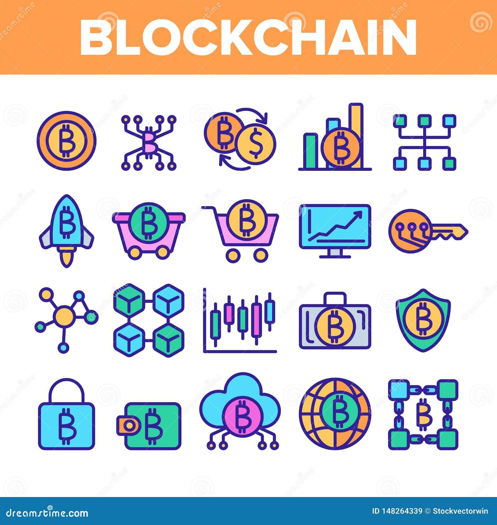 Technologie de Blockchain, ensemble lin?aire d ic?nes de vecteur de Cryptocurrency