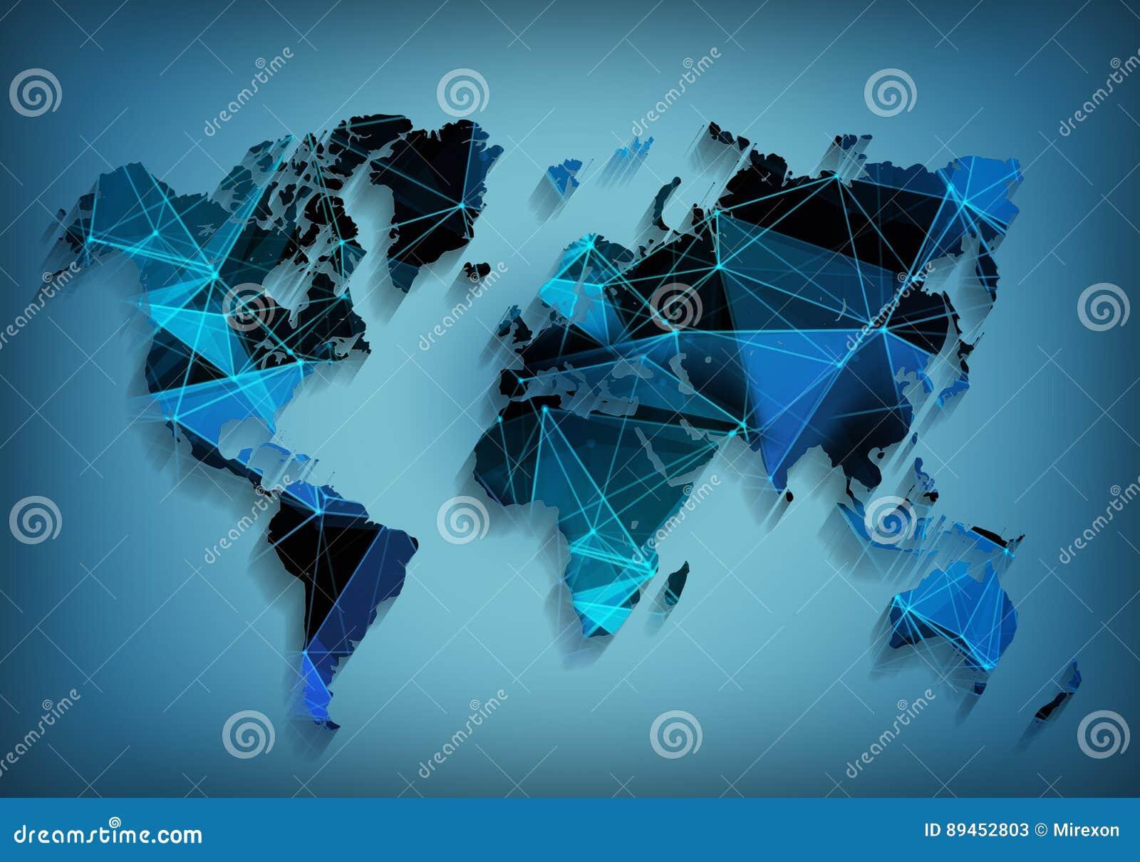 Technologie de réseau globale de carte du monde Communications sociales