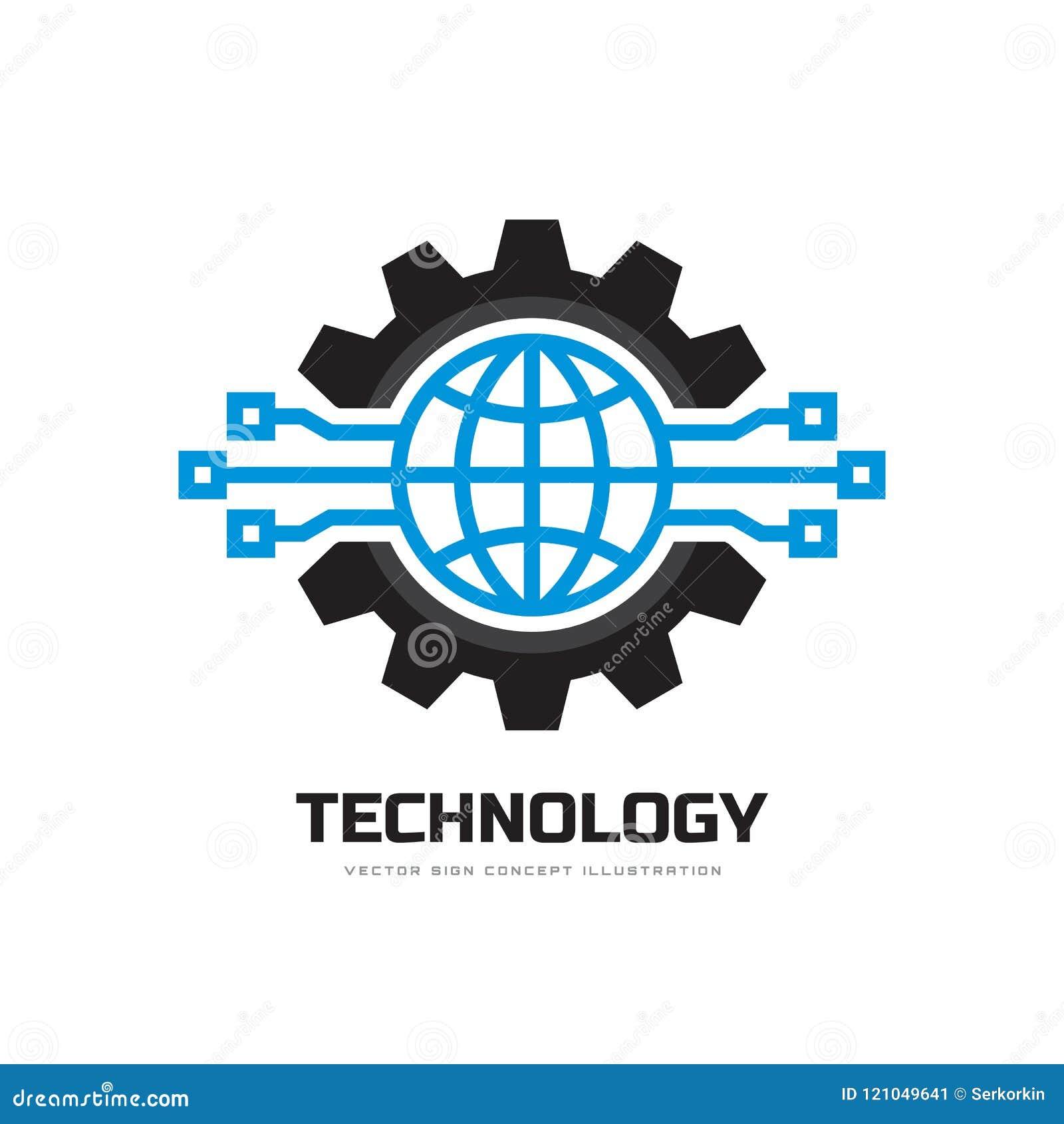 Technologie - de vectorillustratie concepten van het bedrijfsembleemmalplaatje Van het bolwereld en toestel symbolen Tandrad mech