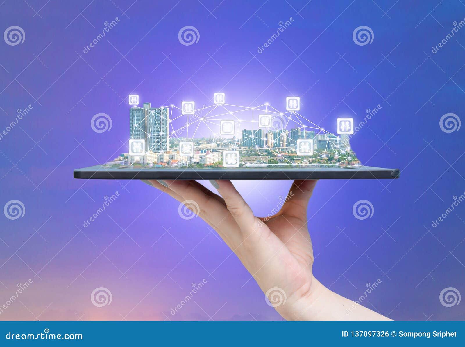 Technologie des communications sociale de médias de ville en ligne de société