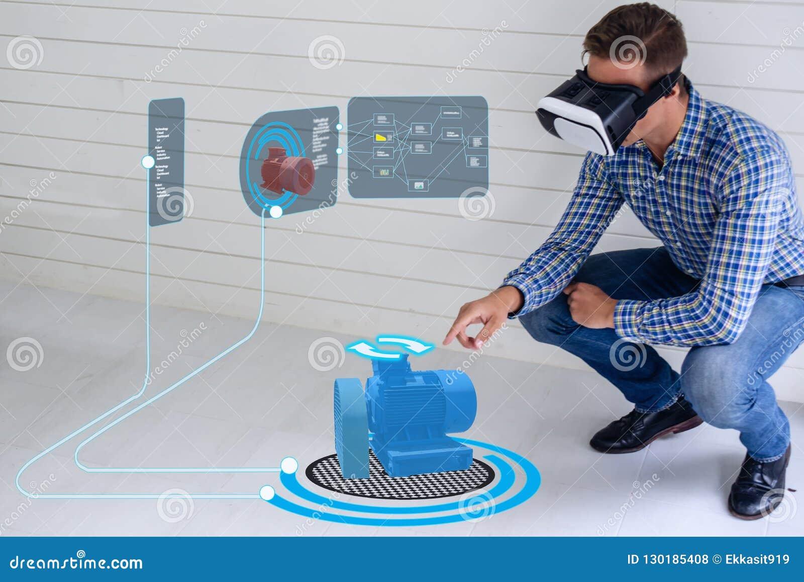 Technologie futée d Iot futuriste dans l industrie 4 0 concepts, utilisation d ingénieur ont augmenté la réalité virtuelle mélang