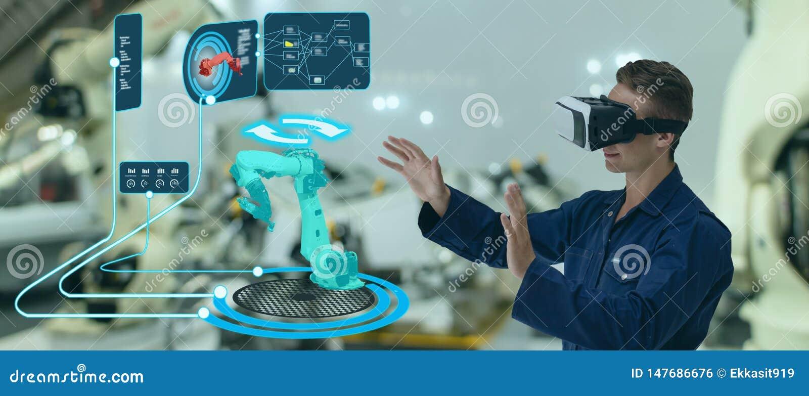 Technologie fut?e d Iot futuriste dans l industrie 4 0 concepts, utilisation d ing?nieur ont augment? la r?alit? virtuelle m?lang