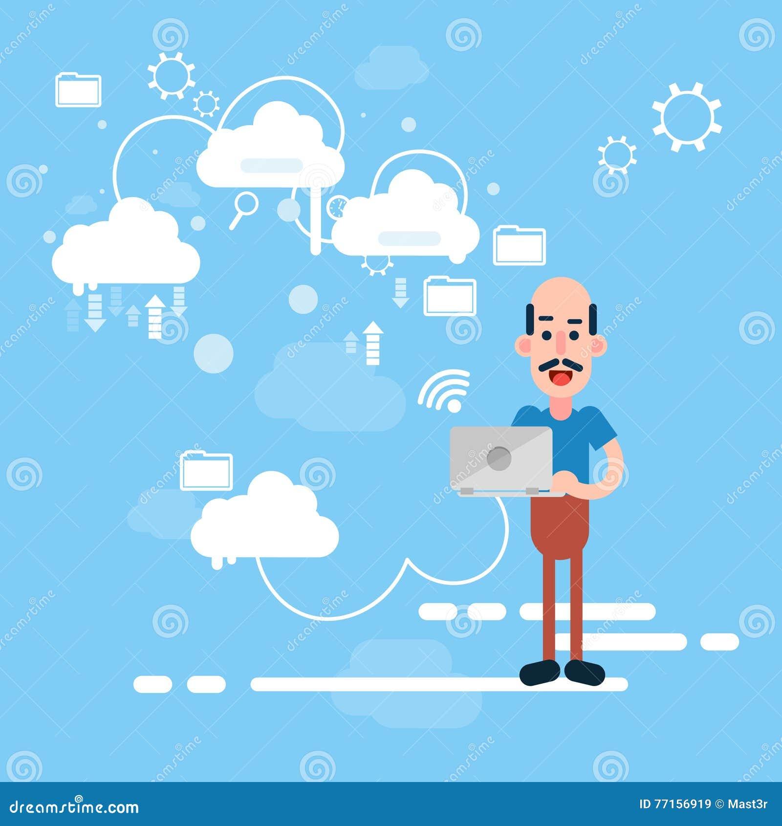 Technologie informatique de nuage de données de part d ordinateur portable de prise d homme d affaires