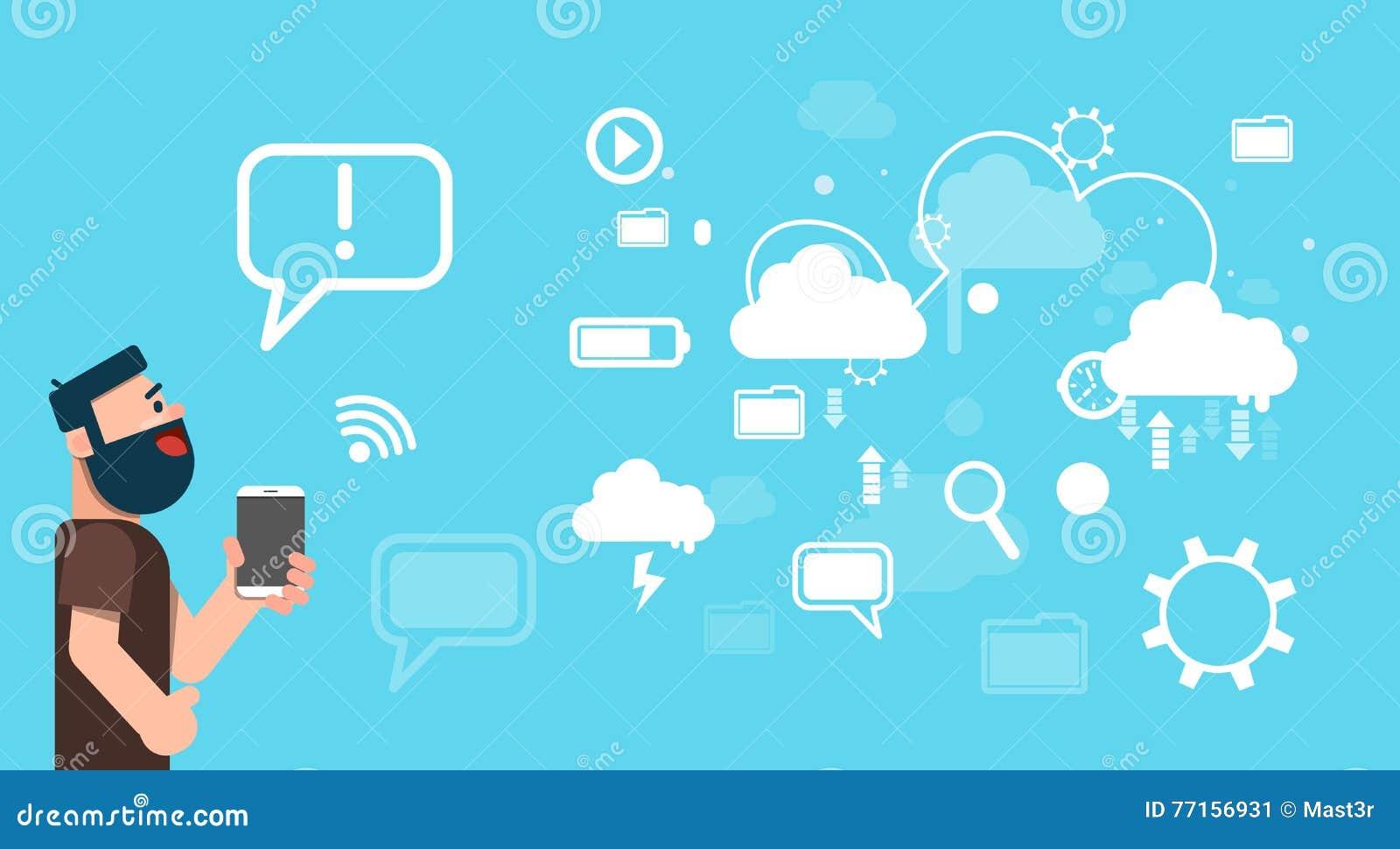 Technologie informatique de nuage de données de part de Tablette de prise d homme d affaires