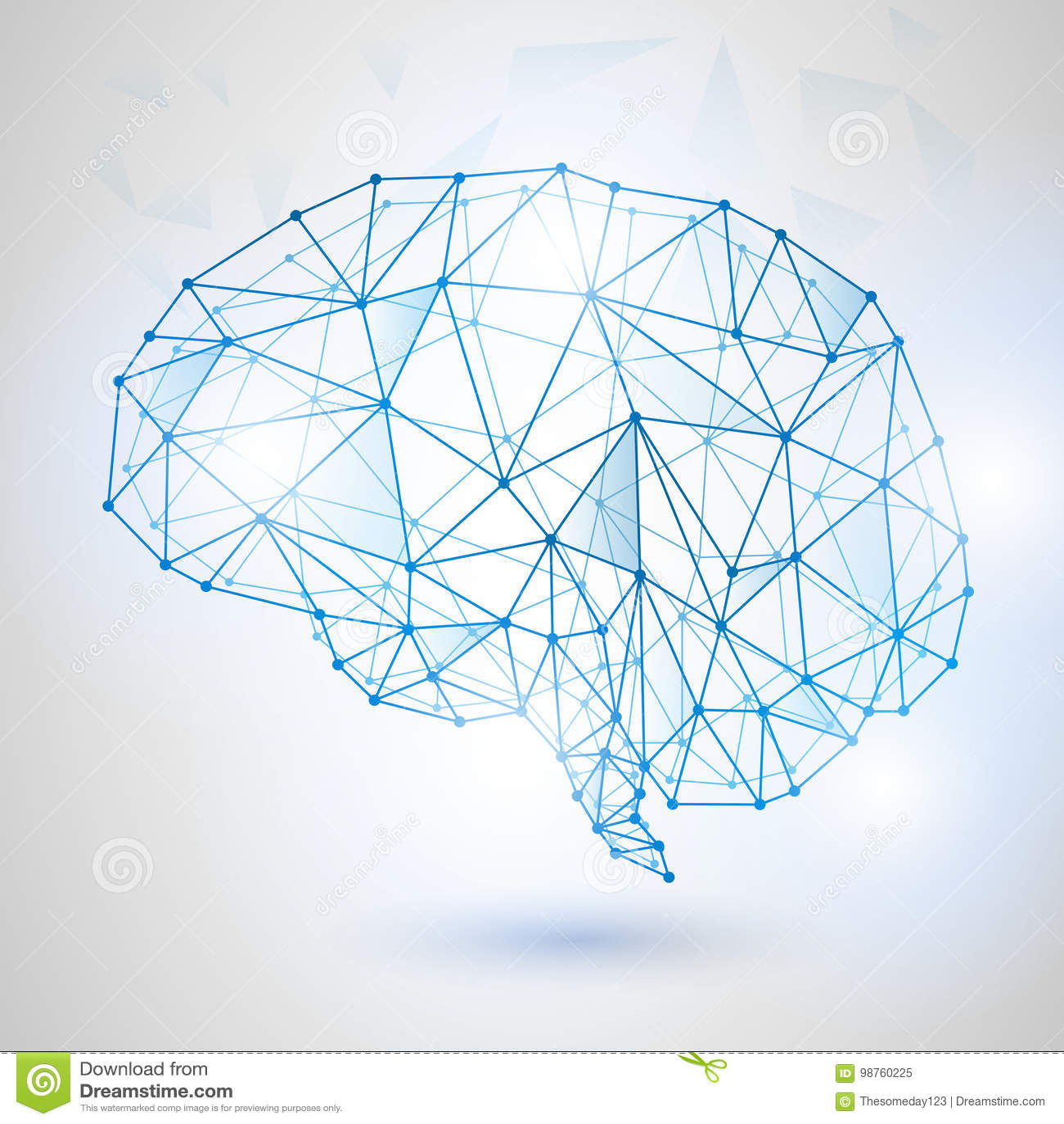 Technologie Laag Polyontwerp van Menselijke Hersenen met Binaire Cijfers