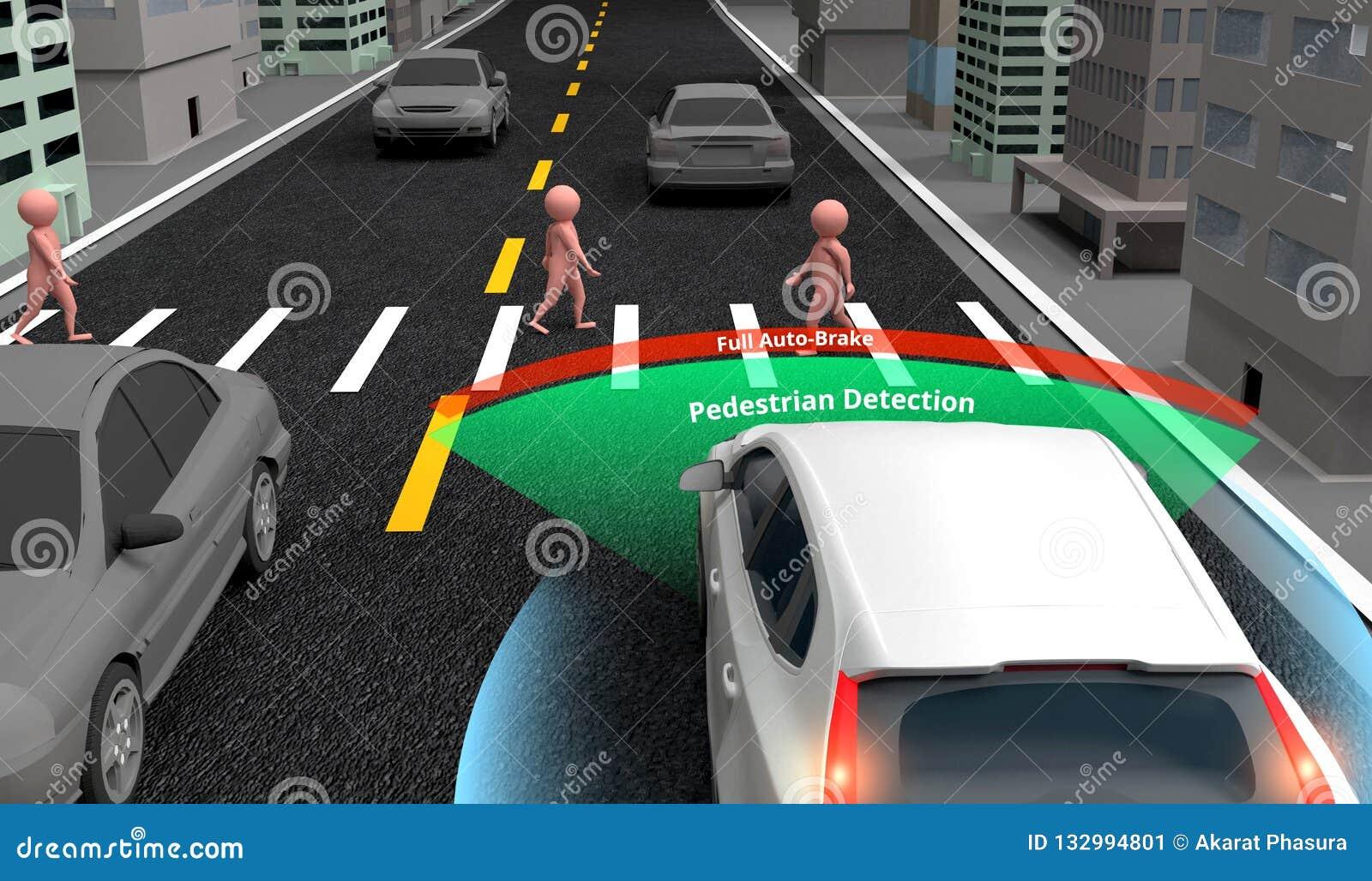 Technologie piétonnière de détection, voiture auto-motrice autonome avec le radar à laser, radar et signal sans fil, rendu 3d