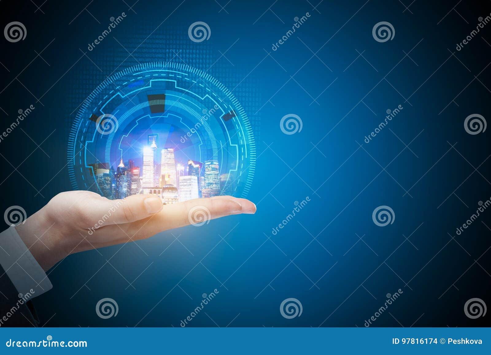 Technologie, toekomst, urbanisatie en mededeling