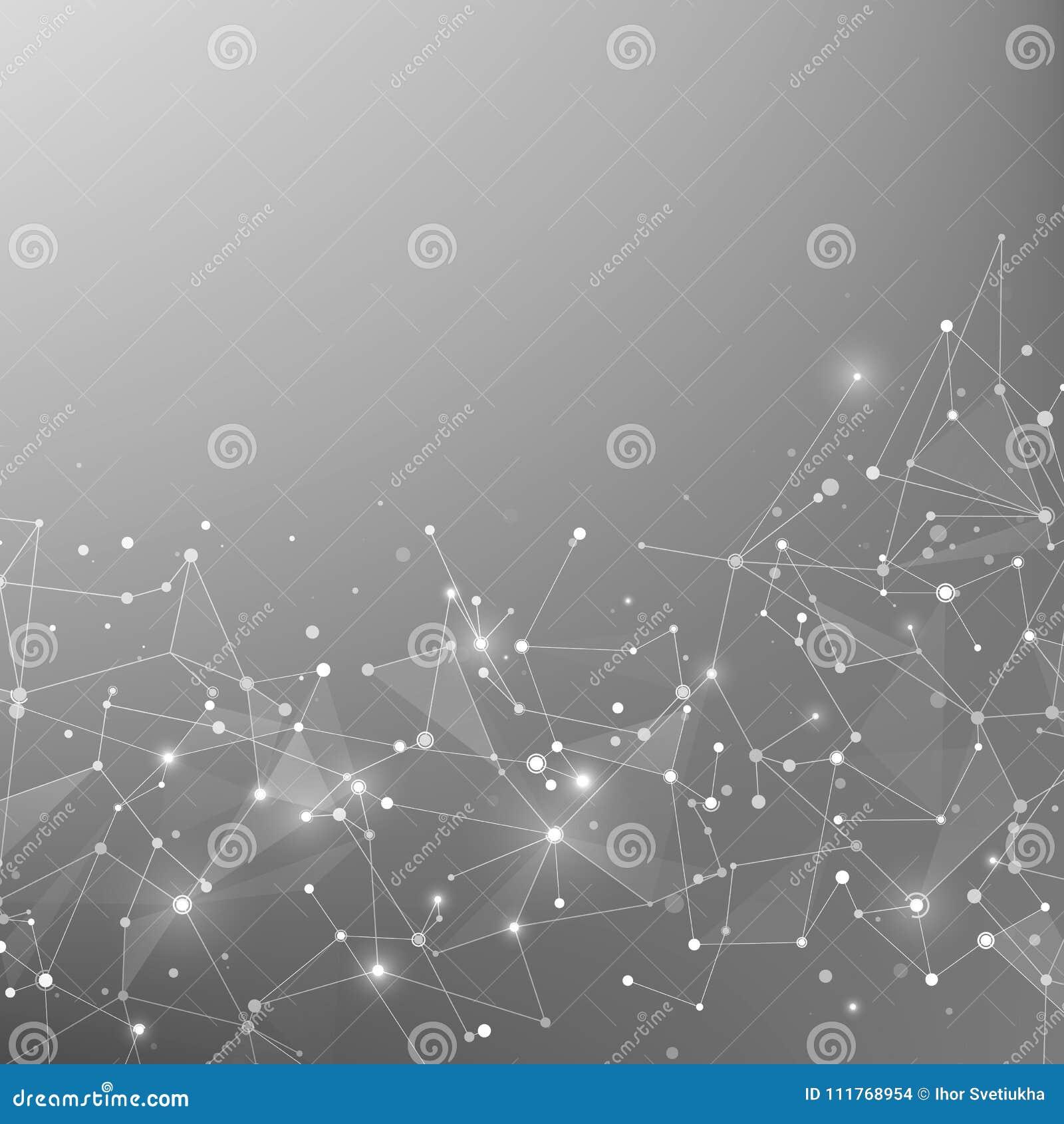 Technologie- und Wissenschaftshintergrund Polygonaler Hintergrund Abstraktes Netz und Knoten Plexusatomstruktur Vektor