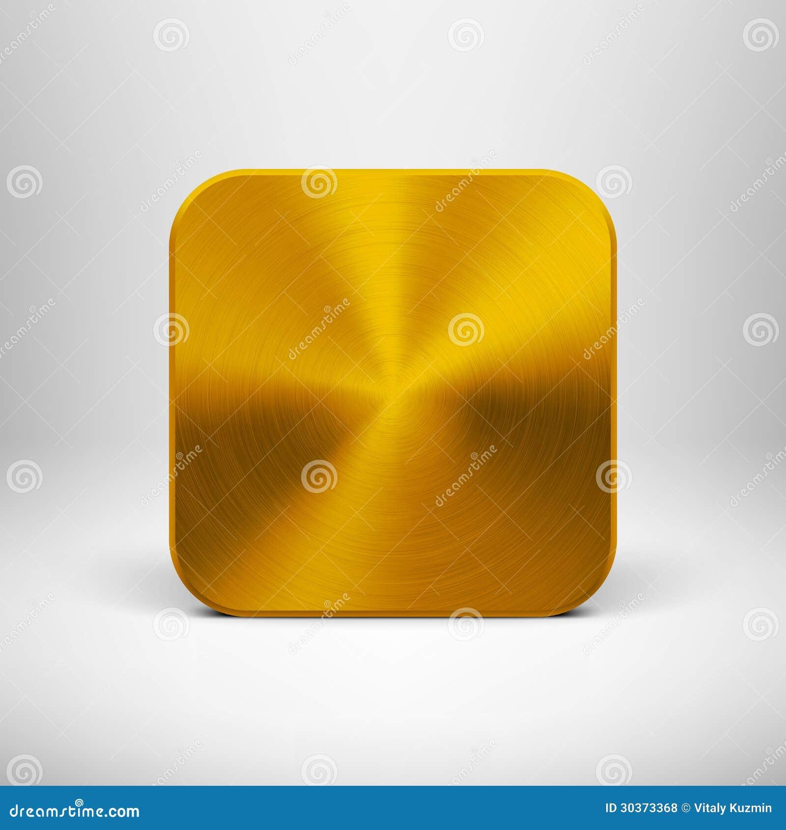 Technologieapp Pictogram met Gouden Metaaltextuur