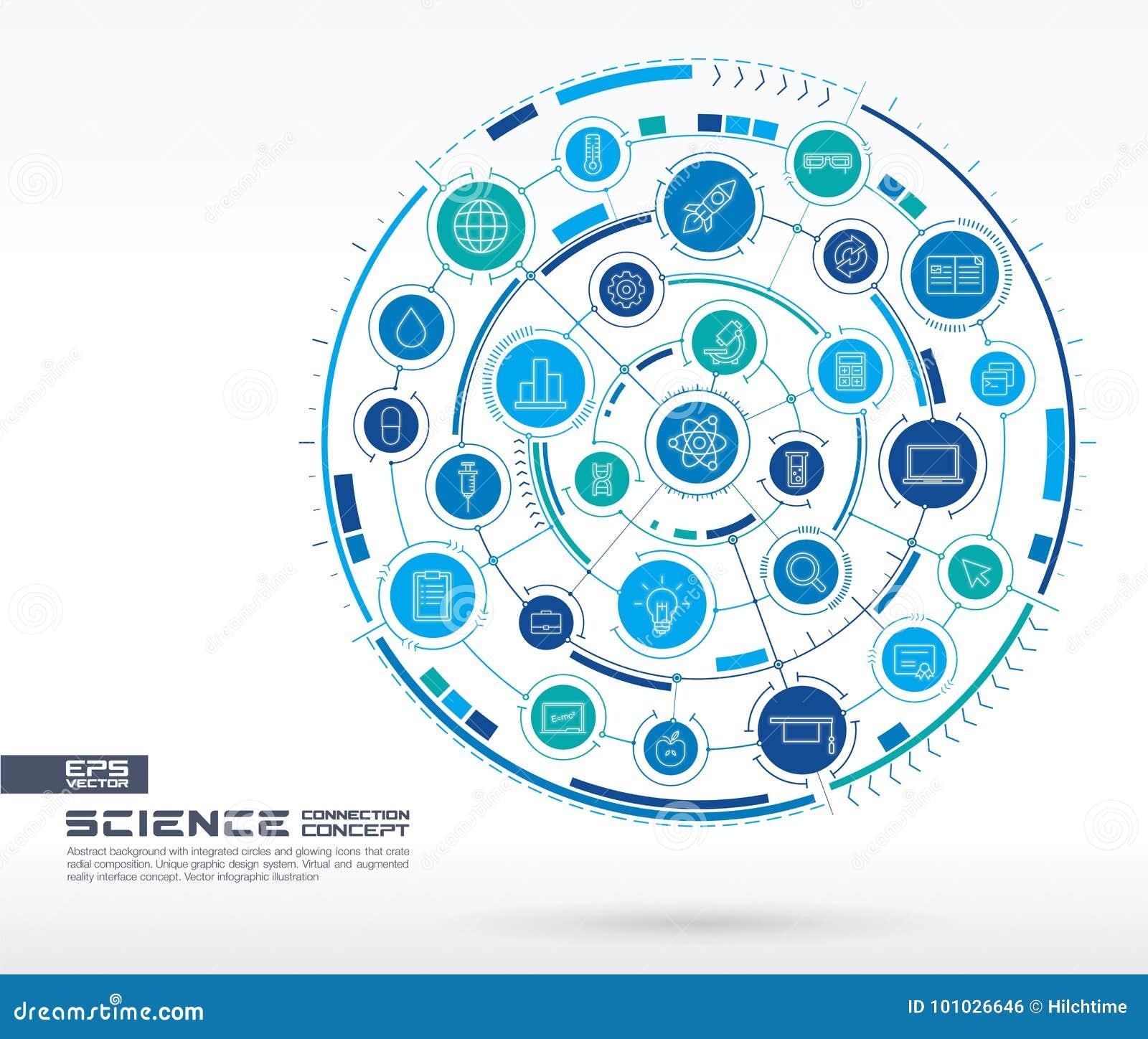 Technologiehintergrund der abstrakten Wissenschaft Digital schließen System mit integrierten Kreisen, glühende dünne Linie Ikonen