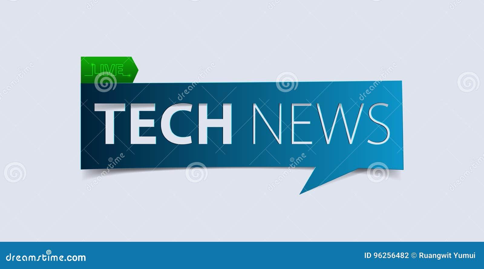 Technologienachrichtentitel auf weißem Hintergrund Fahnen-Designschablone der letzten Nachrichten Vektor