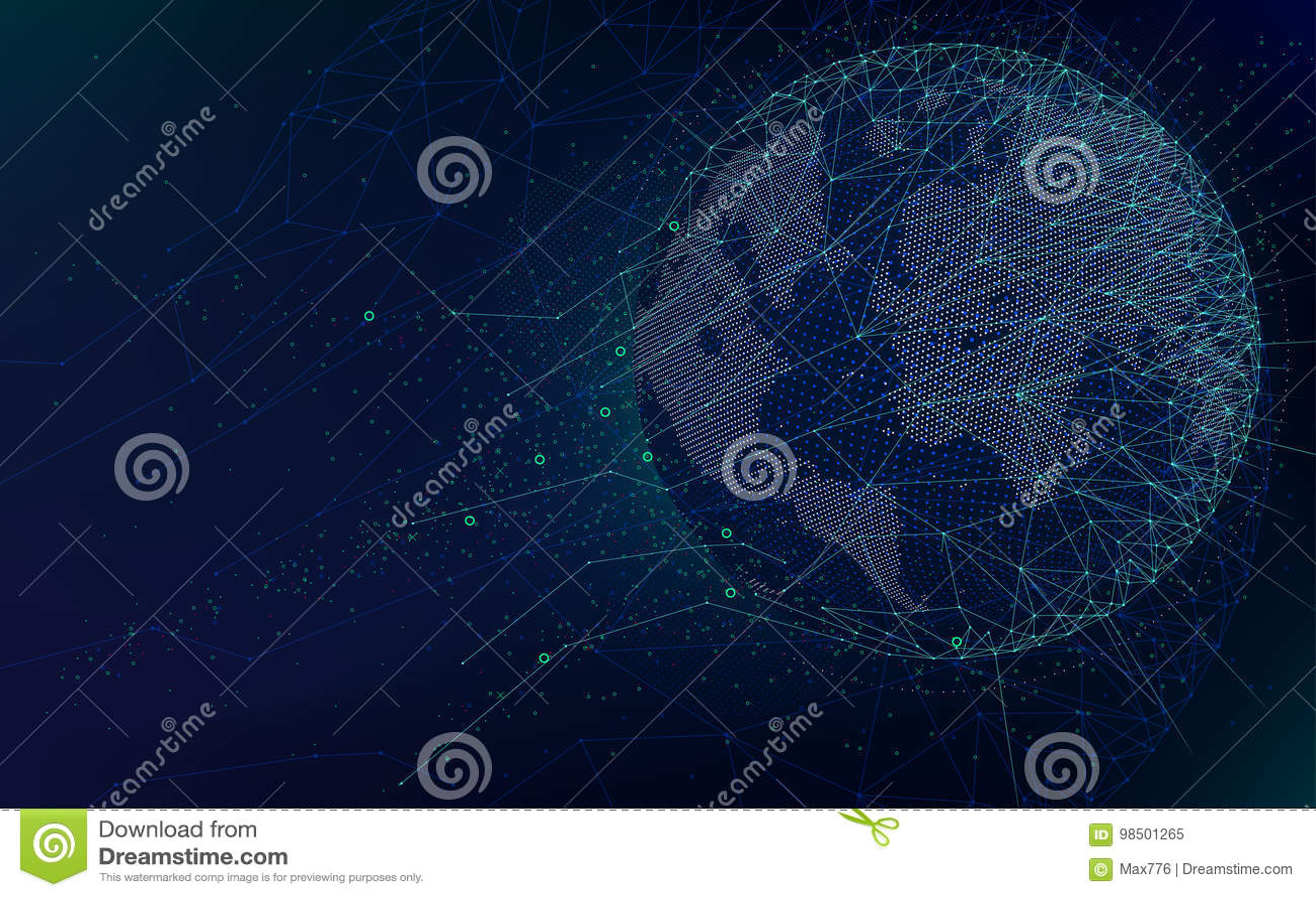 Technologies futuristes de la science fiction, réseau global avec la carte du monde, fond abstrait de l espace infini de vecteur