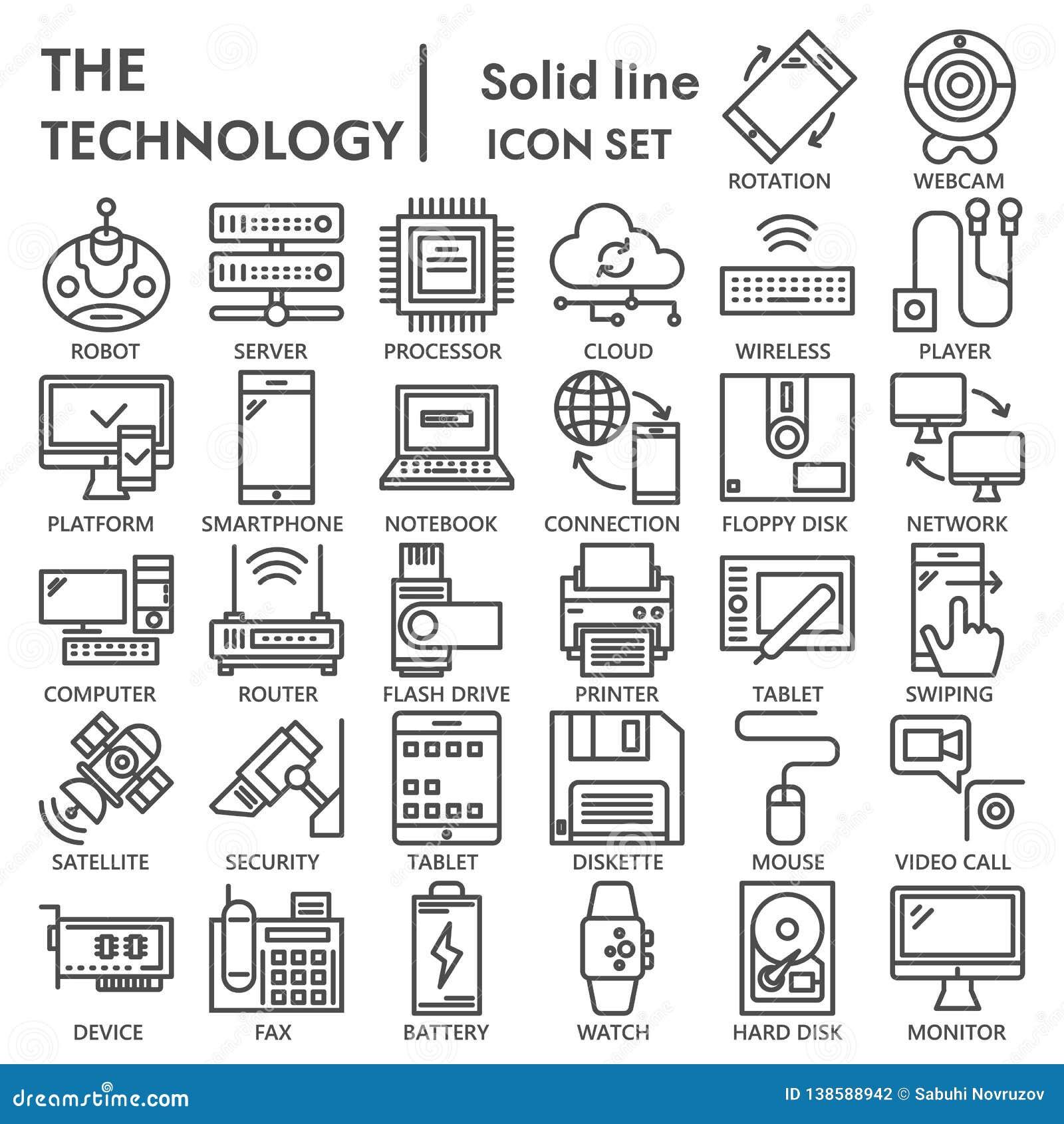 Technologii ikony kreskowy set, przyrządów symbole kolekcja, wektor kreśli, logo ilustracje, technika znaków liniowi piktogramy