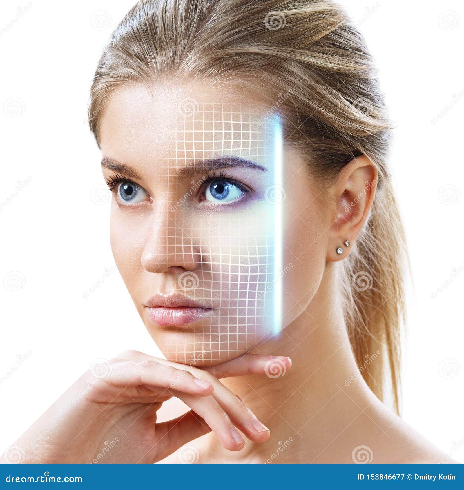 Technologisch aftasten van vrouwen jong gezicht