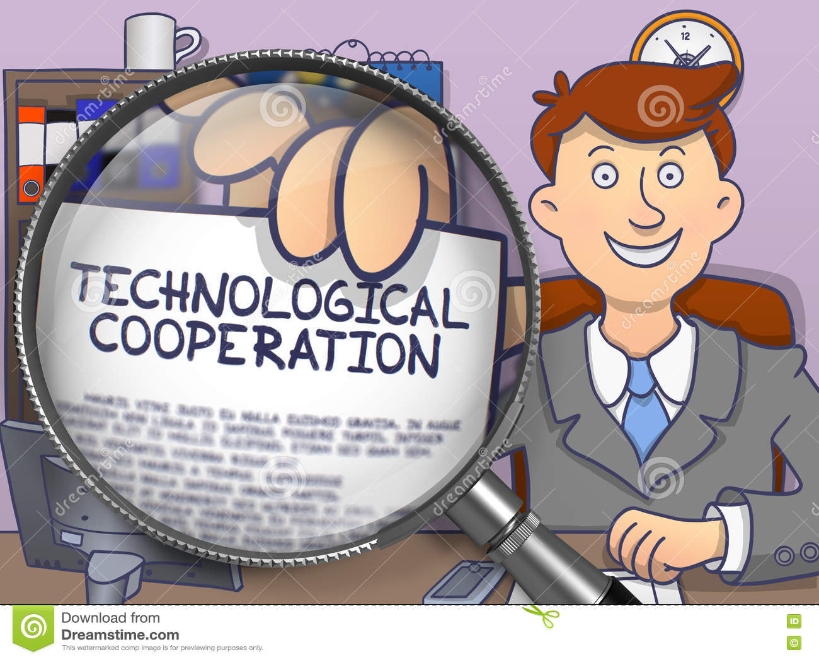 Technologische Samenwerking door Lens De stijl van de krabbel